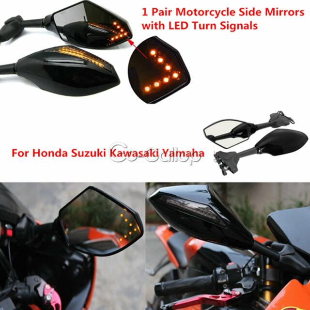 2x LED Integrated Turn Signals Rearview Mirrors Fit Honda CBR 600 F3 F4 1000 RR