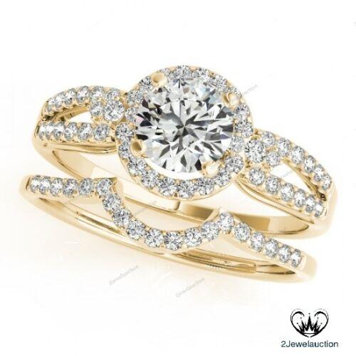 Womens 1.50 Ct Diamond Engagement Wedding Bridal Ring Set 14K Yellow Gold Finish