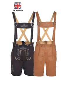 Mens-Bavarian-LEDERHOSEN-Synthetic-Leather-with-Matching-Suspenders-Shorts