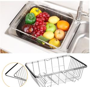 Kitchen Drying Dish Drainer Stainless Steel Rack In Sink Basket Holder Organizer
