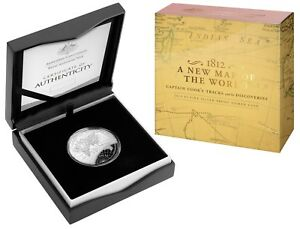 2019 AUSTRALIA 1812 A NEW MAP OF THE WORLD – $5 FINE SILVER PROOF DOMED COIN