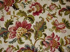 Mill Creek Jacobean Floral PRIMAVERA Pink Teal Green Gold Drapery Sewing Fabric