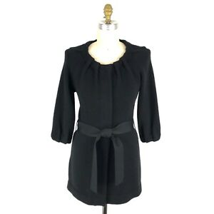 Vince-Black-Car-Coat-Sweater-Womens-Size-Small-Belted-Wool-Cashmere-Snap-Front
