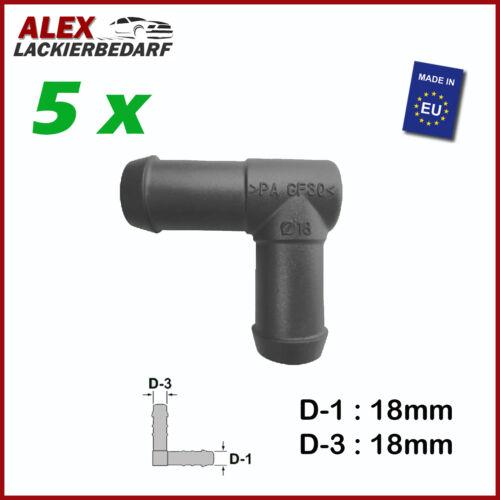 2760 5 x PVC Schlauchverbinder Pipe Connector Winkel 90° 18 mm x 18 mm