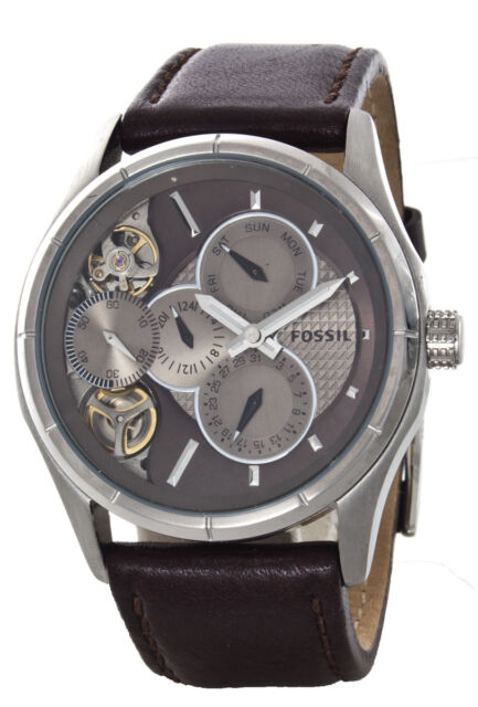 Mechanical Twist Me1020 Watch Brown Leather Fossil klwXTOuPZi