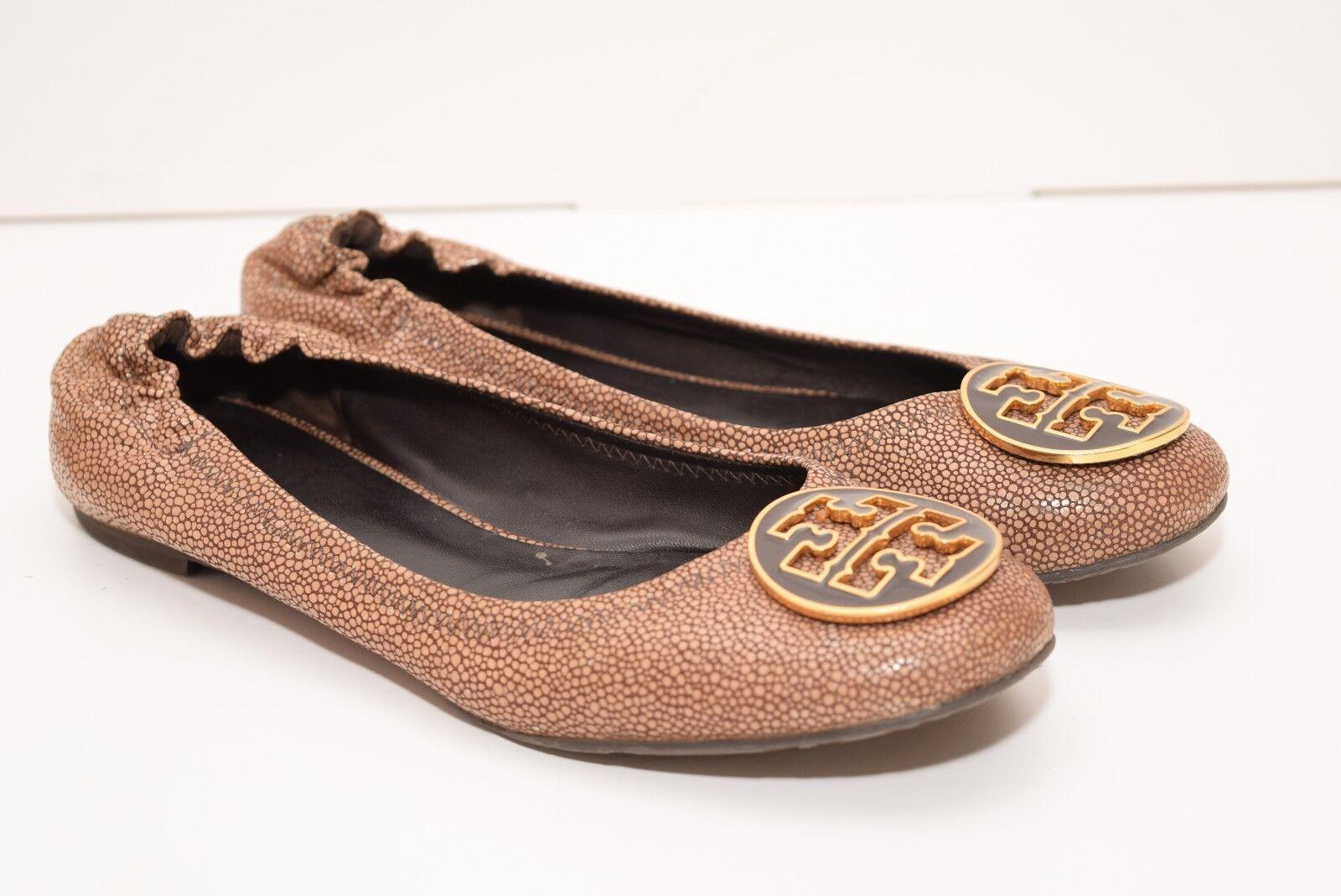 TORY BURCH Damenschuhe REVA Braun Beige Soft Leder Flat Schuhes sz 8M