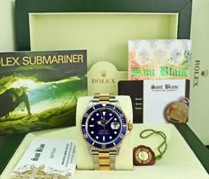 ROLEX - Mens 18kt Gold & Steel Submariner Indigo Blue No Holes 16613 SANT BLANC