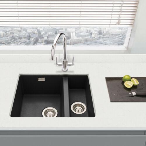 Home Furniture Diy Kitchen Sinks Without Taps Granite Composite 1 1 2 Bowl Undermount Kitchen Sink Black Bortexgroup Com