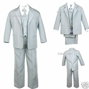 New Boy Baby Toddler Kid Teen Formal Wedding Party Light Gray Tuxedo Suit S-20