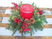 Red 3 Wick Candle Pine Cone Berries Jingle Bells Wood Bowl Christmas Centerpiece