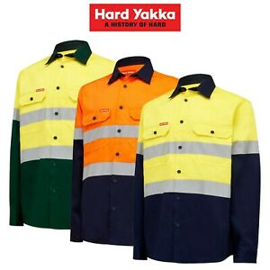 Mens-Hard-Yakka-Core-Hi-Vis-Safety-Cotton-Drill-Pocket-Taped-Work-Shirt-Y04610