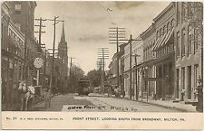 Front Street Looking South From Broadway in Milton PA Postcard 1908