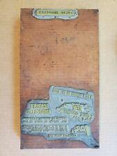 Vtg Copper Amp Wood Printing Press Plate Block Stamp Amaryllis Newspaper Sale Ad