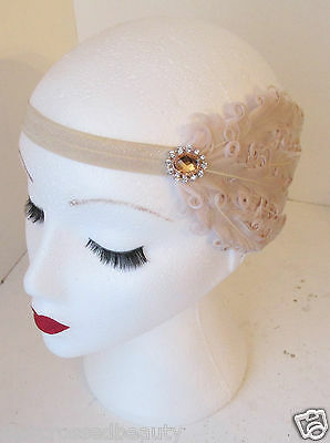 Nude Cream Vintage Feather Headpiece 1920s Headband Flapper 30s Great Gatsby k86