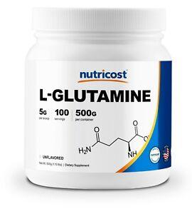 Nutricost-Pure-L-Glutamine-500G-100-Serv-Enhance-Muscles-Non-GMO-Gluten-Free