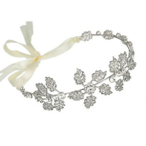 Flower-Bridal-Headpiece-Rhinestone-Leaf-Wedding-Headband-Tiara-Jewelry-Handm-OZ
