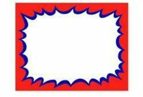 """100 BLANK 2.75/"""" x 3.5/"""" Burst Red with Blue Accents Retail Value Sale Signs Cards"""