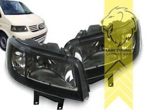 Design-Scheinwerfer-Klarglas-fuer-VW-T5-Bus-Multivan-Caravelle-Transporte-schwarz