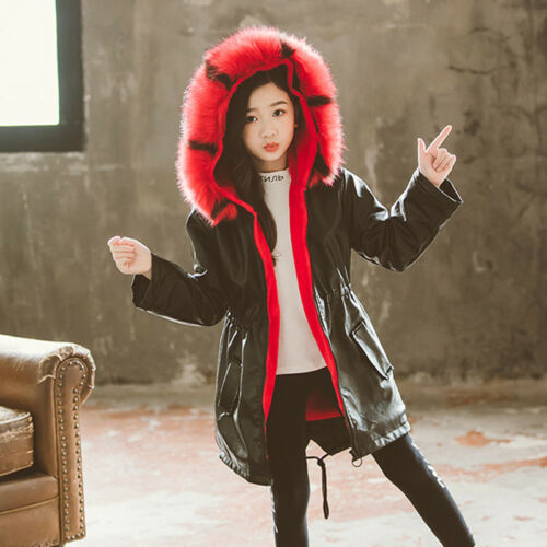 Kids Girls Parka Thick Warm Pu Leather Fur Liner Hooded Jacket Coat Winter Coats