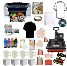 8 in 1 Combo Sublimation Heat Press,Printer,CISS,Ink Tshirts Mug Start-up Bundle