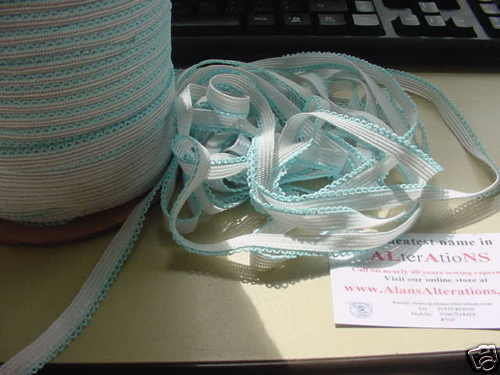 Blue 12mm LACE elastic 10 metres of VERY PRETTY White