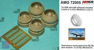 AMigo Models AMG72005 RD-7M exhaust nozzles Tu-22K aircraft resin set 1//72