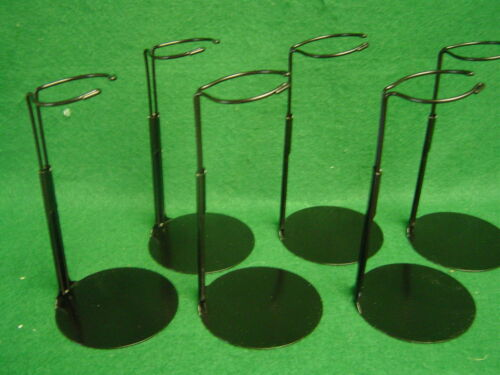 Doll Stands set of Six Black Metal stands for 6 to 11 in Dolls and teddy bears