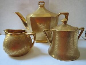 Image is loading PICKARD-GOLD-PLATED-TEA-SET-MADE-IN-CZECHOSLOVAKIA & PICKARD GOLD PLATED TEA SET - MADE IN CZECHOSLOVAKIA | eBay