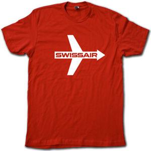 daa978b9a09 SWISSAIR Vintage Feeling Airline T-Shirt • Retro Super-Soft Airplane ...