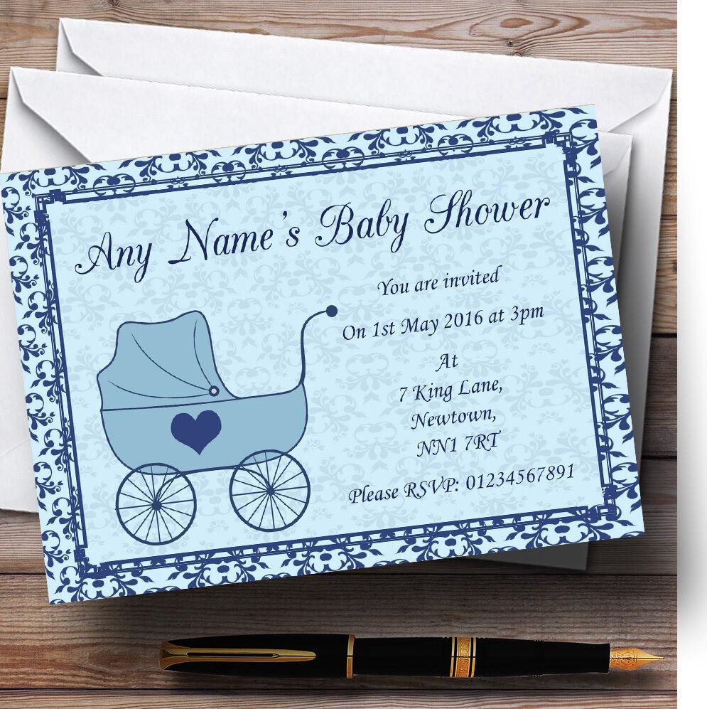 Boy Blau Pram Personalised Baby Shower Invitations