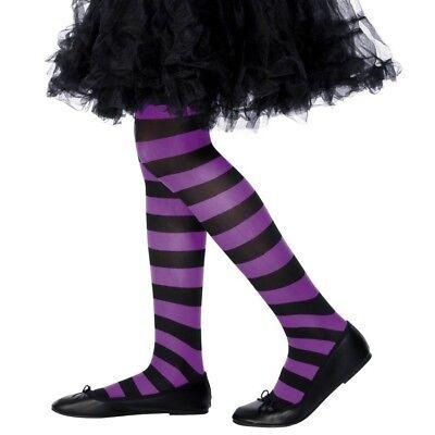 Âge 6-12 ans Smiffys collants à rayures-violet et noir