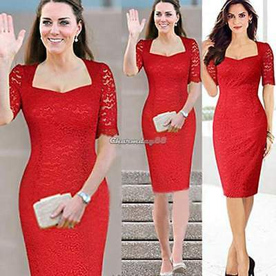 Sexy Women Evening Cocktail Bodycon Lace Tunic Stretch Crochet Prom Pencil Dress