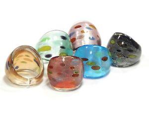 6-Fingerringe-Glas-Silberfolie-Ring-Mehrfarbig-Fancy-Lampwork-ringe-BEST-R11G