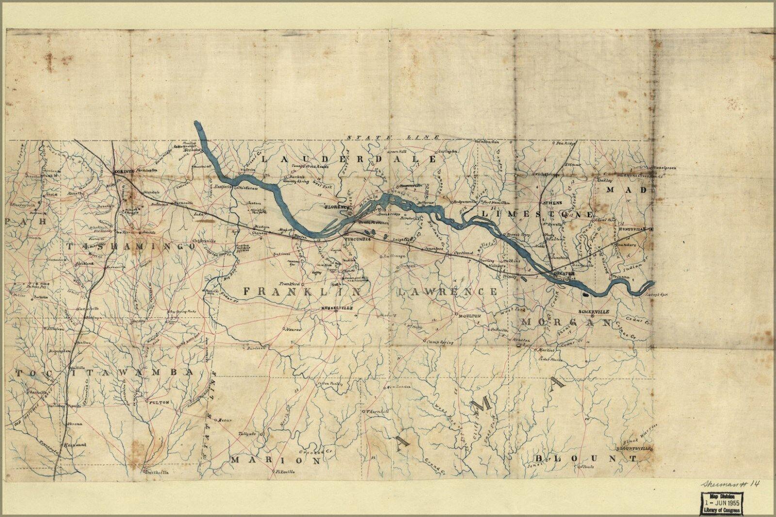 Plakat, Viele Größen; KKunste von Northwest Alabama und ne Mississippi 1863