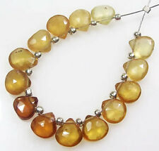 14 NATURAL SHADED HESSONITE GARNET FACETED HEART BRIOLETTE BEADS 7-7.5mm  H1