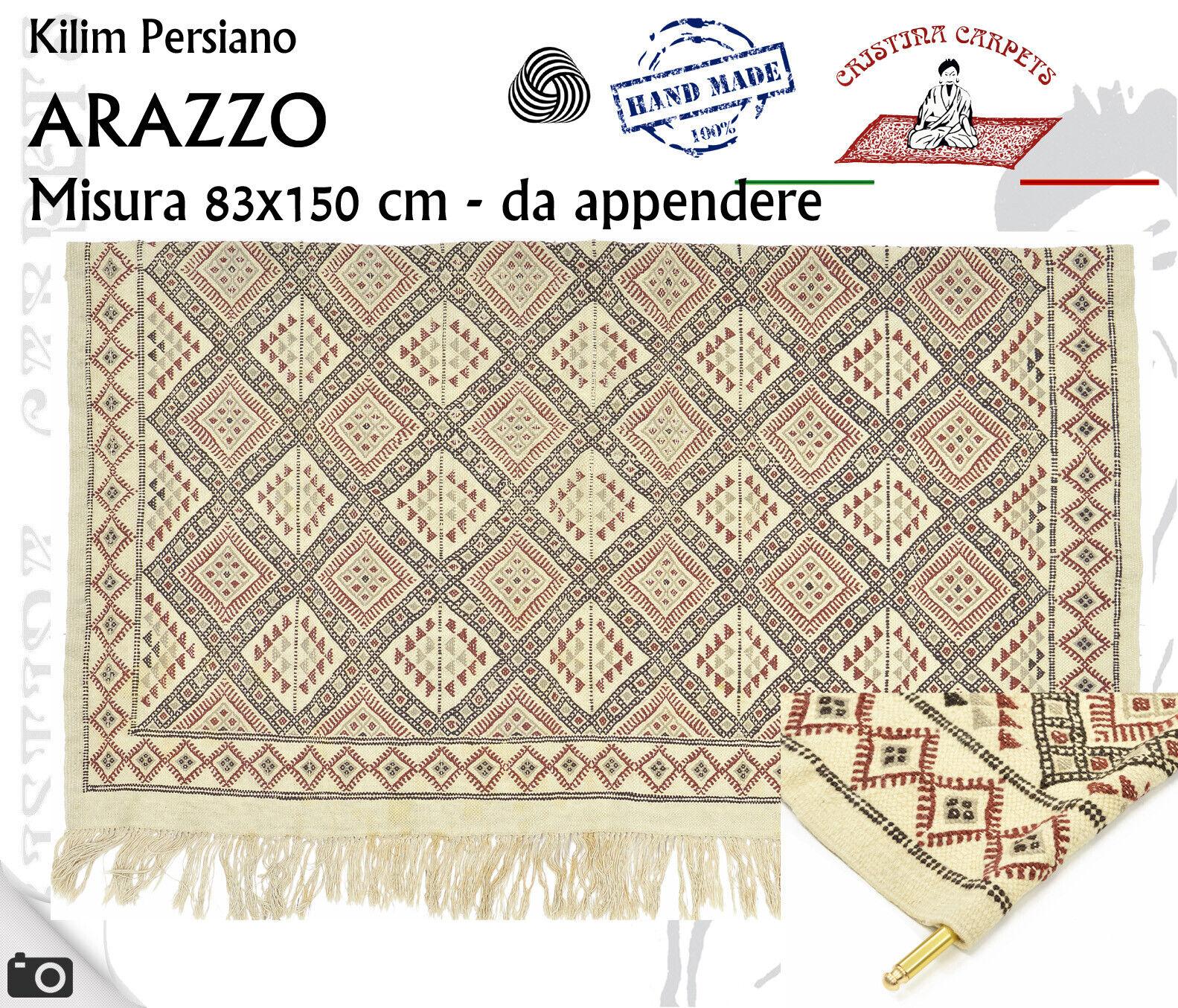 Kilim Persiano Arazzo Geometrico avorio Annodato a mano Lana 83x150 cm W4