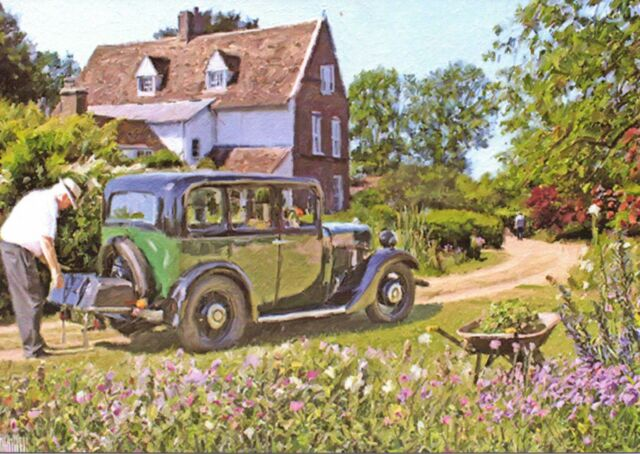 """~  Morris Isis 1932? ~  """"Packing the car"""" in East Anglia ~ Birthday card"""