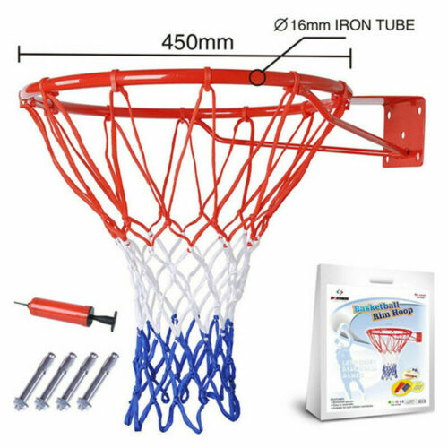 "Adult Kids Basketball Hoop Ring Net Wall Mounted Outdoor Hanging Basket 18/"" 45cm"