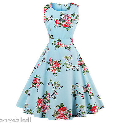 Womens 1950s 60s Vintage Floral Style Rockabilly Cocktail Party Swing Dress Plus