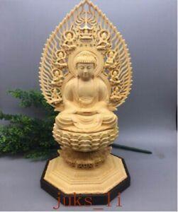 "Amicable 11"" 100% Natural Boxwood Hand Carving Shakyamuni Buddha Sakyamuni Lotus Statue Asian Antiques Figurines & Statues"
