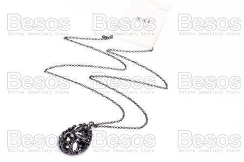 GIFT BAG LARGE 5cm TEARDROP PENDANT long chain MULTI//BLACK gold fashion UK