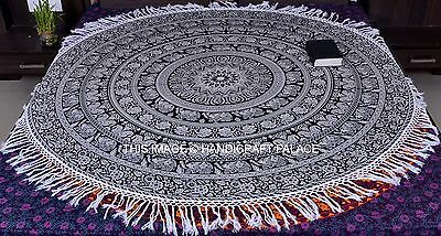 Indian Round Elephant Mandala Wall Hanging Yoga Mat Tapestry Beach Throw Blanket