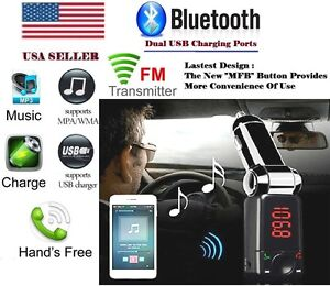 the latest 74a4b ec0a0 Details about Latest Bluetooth Car FM Transmitter MFB Button Dual USB  Chgers For iPhone X 8 7