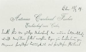 Details About 1909 Anton Fischer Visitenkarte Mit Eigenhändiger Grußformel Erzbischof Köln