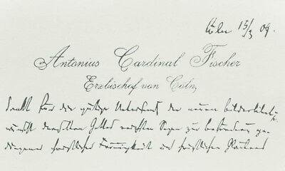 1909 Anton Fischer Visitenkarte Mit Eigenhändiger Grußformel Erzbischof Köln Ebay