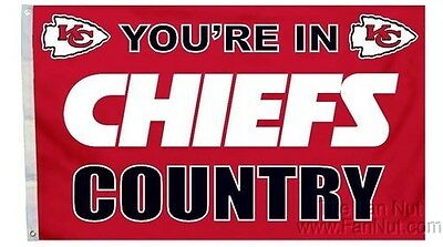 Kansas City Chiefs COUNTRY 3x5 Flag w/grommets Outdoor House Banner NFL Football