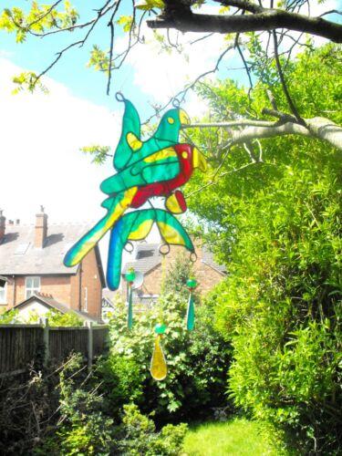 SUN Catcher mobile Rainbow Parrot Multi Colore SPINNING Garden Home Regalo UK