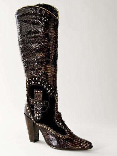 Neu El Vaquero Natürlich Pelz Lackleder Maroon Stiefel Größe 37 Us 7