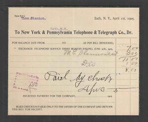 1905-NEW-YORK-amp-PENNSYLVANIA-TELEPHONE-amp-TELEGRAPH-CO-BATH-NY-ANTIQUE-BILLHEAD