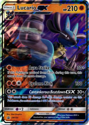 SM Black Star Promo NM Sun /& Moon Black Star Pro SM100 Pokemon 1x Lucario GX
